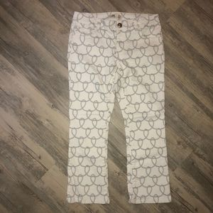 White CAbi rope printed cropped jeans